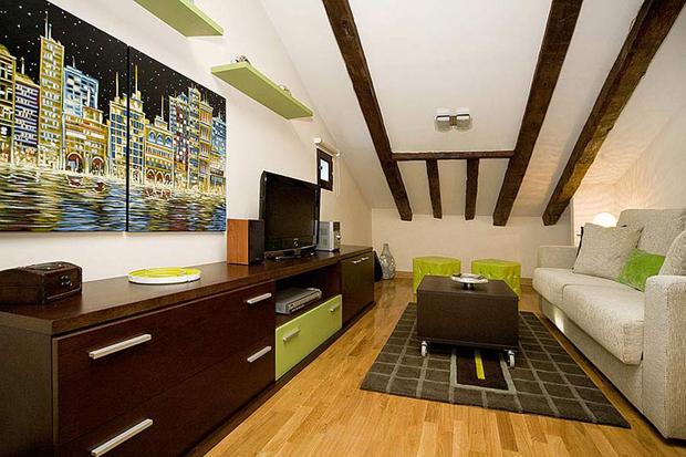 atticapartment livingroom1 a b Attic Madrid apartment