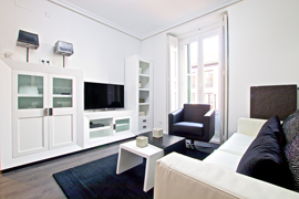 The living area of this modern luminous apartment with 1 bedrooms in central Madrid